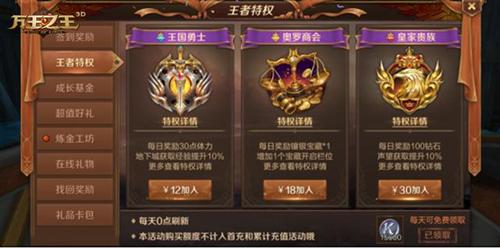 万王之王3D王者特权选择哪个好?万王之王3D王者特权加成分析[图]